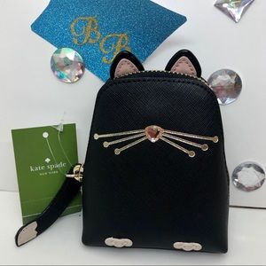 KATE♠️SPADE JAZZ THINGS UP CAT COIN CASE NWT